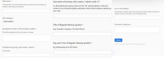 Заявка на создание клуба